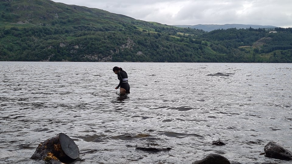 Woman swimming in Loch Ness